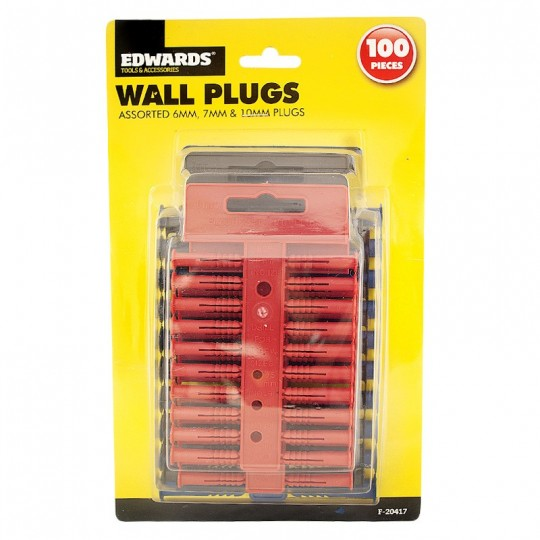 ASSORTED WALL PLUGS - 100 PACK