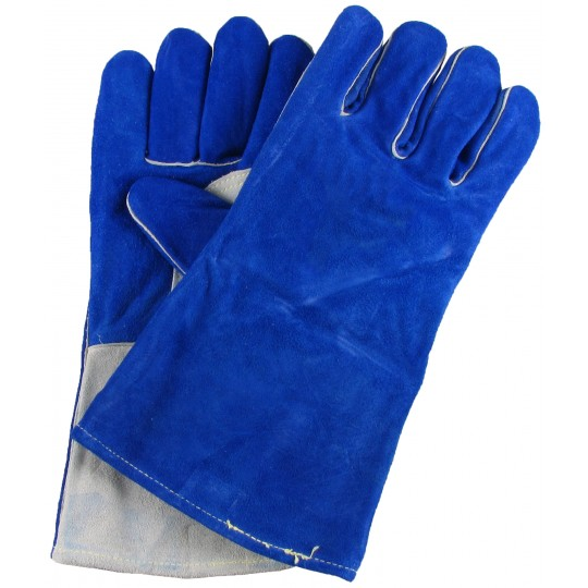 BLUE COWHIDE WELDING GAUNTLETS